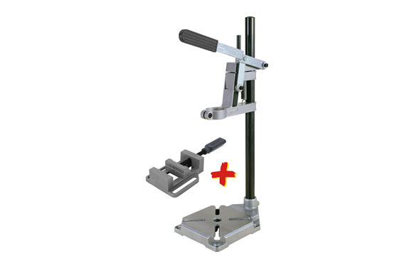 Soporte para taladro universal metalico + mordaza ø 43 mm placa 160x230 mm