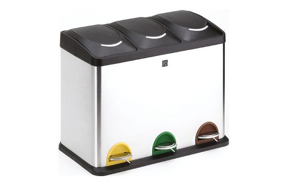 Cubo reciclaje 3 compartimientos 45 l