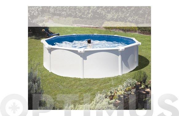 Piscina acero redonda filtro cartucho 3,8m3 ø350x120 cm blanca