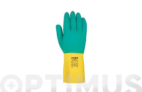 Guante bicolor latex flocado t/7