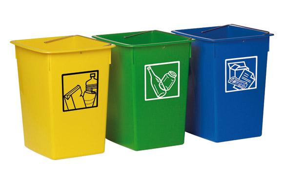 Cubeta reciclar 26l con asa amarillo