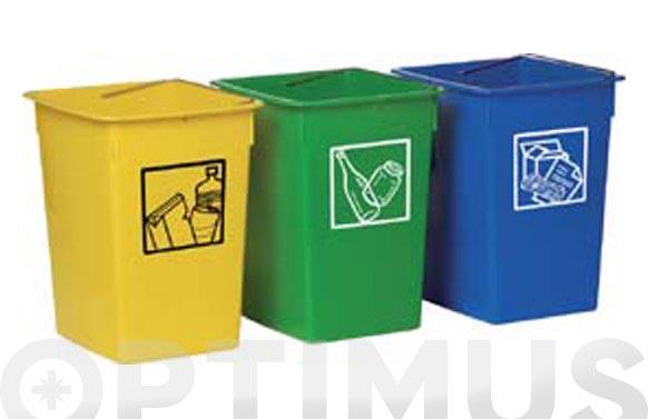 Cubeta reciclar 26l con asa azul