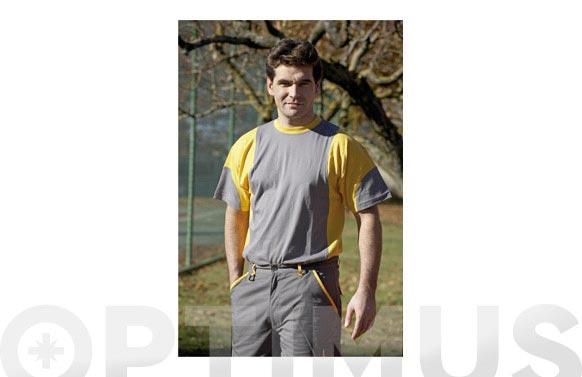 Camiseta algodon gris/amarillo