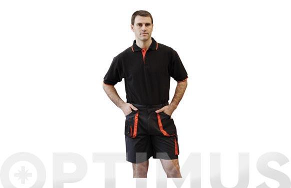 Pantalon corto top range t.m negro / naranja