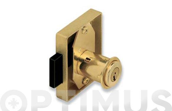 Cerradura sobreponer mueble bombillo 25mm 23r/30 mm latonada