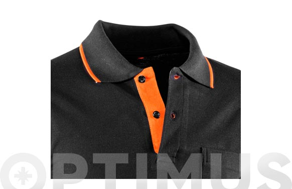 Polo top range manga larga negro / naranja t xl