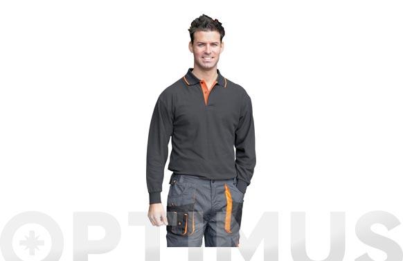 Polo manga larga con bolsillo top range t l negro / naranja