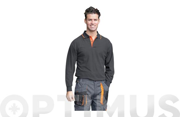 Polo manga larga con bolsillo top range t s negro / naranja