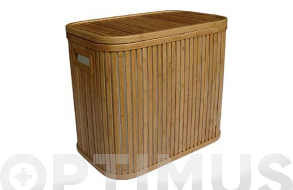 Cubo para ropa doble bamboo 53.5 x 33 x 46.5