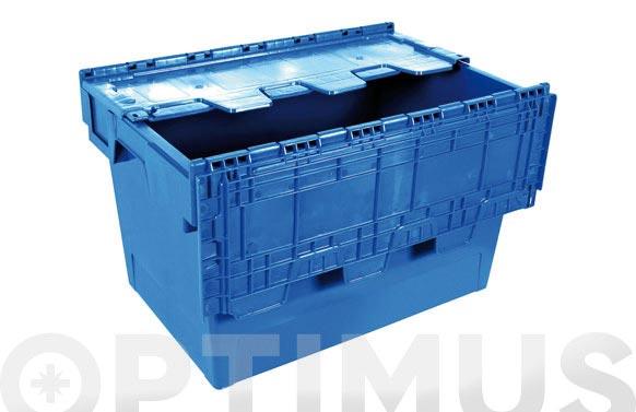 Caja almacen y transporte polipropileno azul 600 x 400 x 340 mm