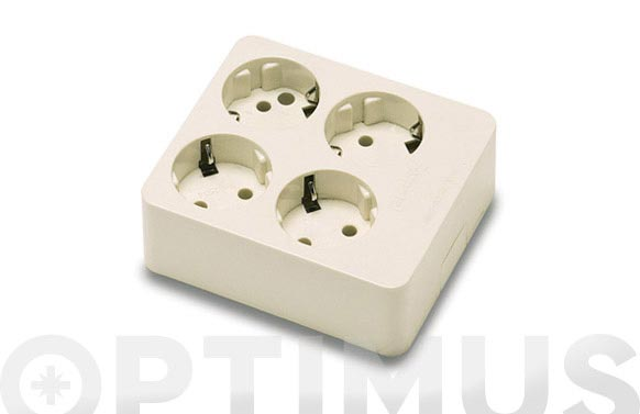 Base multiple sin interruptor sin cable 4 tomas cuadrada