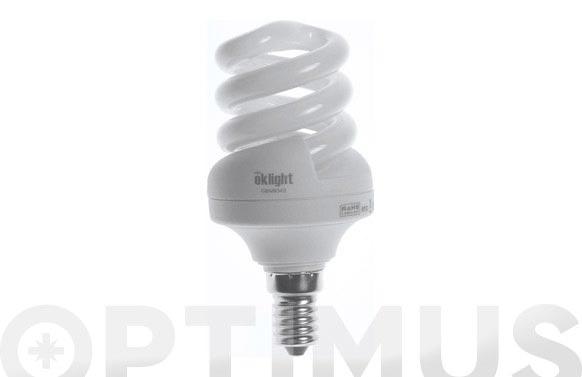 Bombilla bajo consumo espiral 11w e-14 luz calida