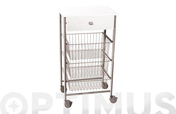 Verdulero 3 cestas +1 cajon m6 blanco