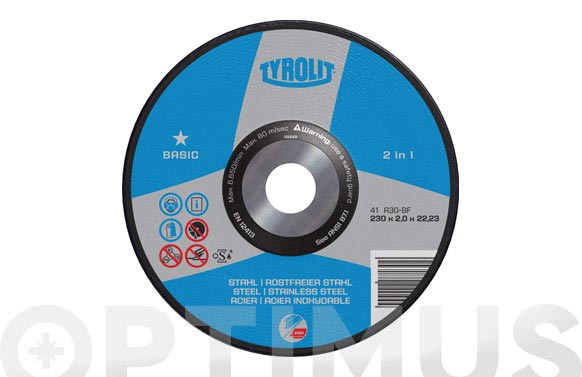 Disco corte acero/inox basic 230 x 2 x 22 plano