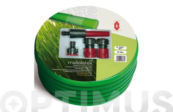 Manguera flex mallalatex con accesorios 15 mt ø 15 mm x 21 mm