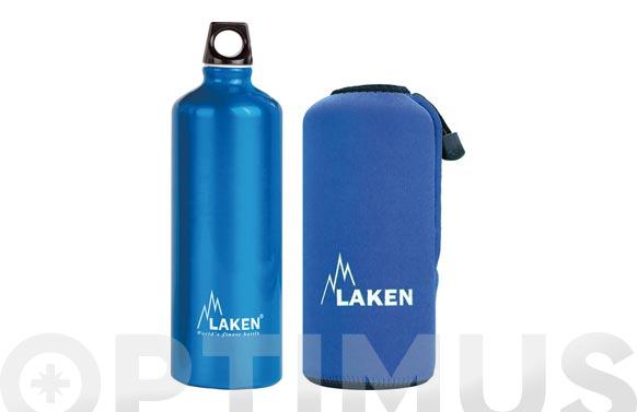 Botella aluminio con funda azul 1 l