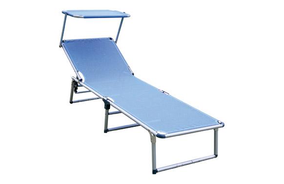Cama aluminio playa con parasol fibreline azul