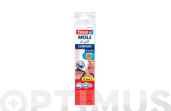 Burlete bajo puerta alumini cepillo adhesivo 1 m x 40 mm inox tesamoll