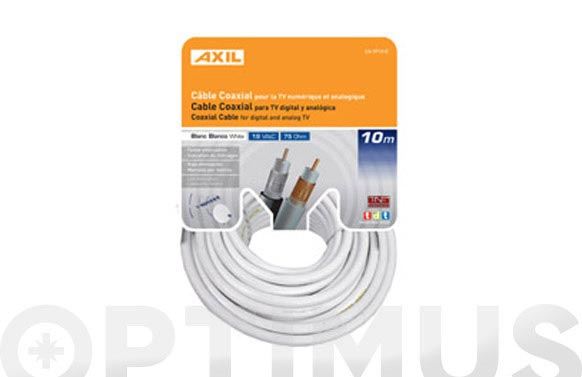 Cable coaxial tv 19vat - blanco 25 m