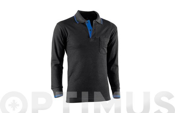 Polo manga larga con bolsillo top range t xxl azul/negro