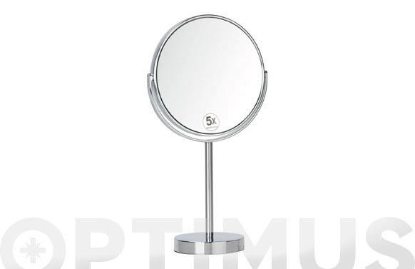 Espejo bano cromado fijo aumento x5 d.10x35xd.17cm