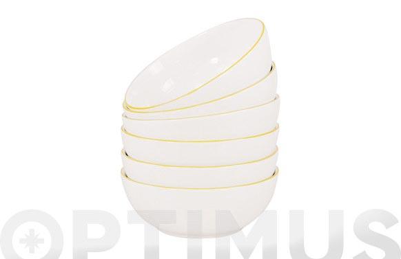 Bol cereales porcelana decorado linea amarilla