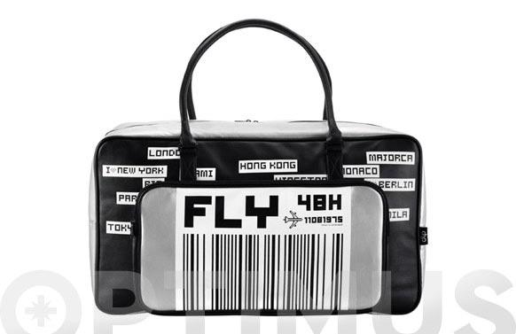 Bolsa de mano 55x20x30 disseny fly gris/ngr