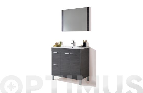 Mueble baño 80 cm + espejo aktiva gris 80 x 80 x 46 cm