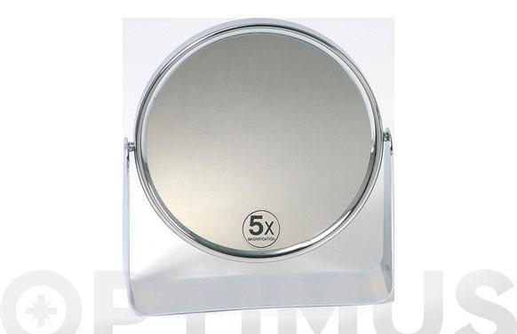 Espejo baño pie cromado 15cm 5 aumentos