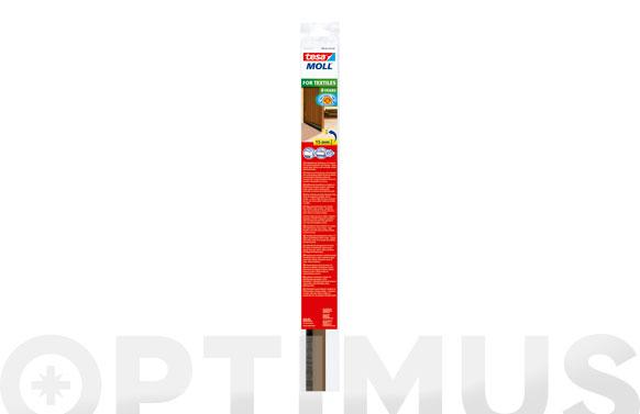 Burlete bajo puerta pvc con cepillo adhesivo 1 m x 43 mm marron tesamoll