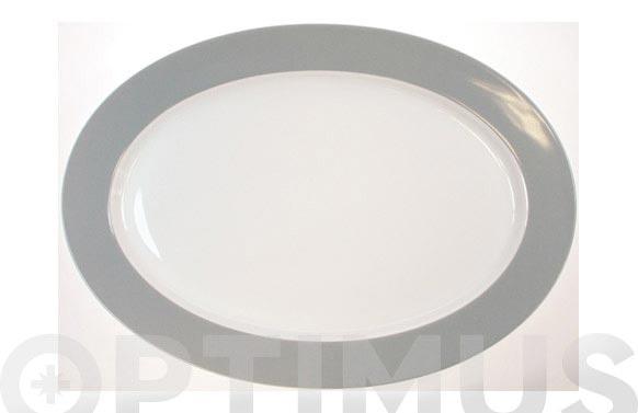Bandeja oval porcelana open b.gris 31cm