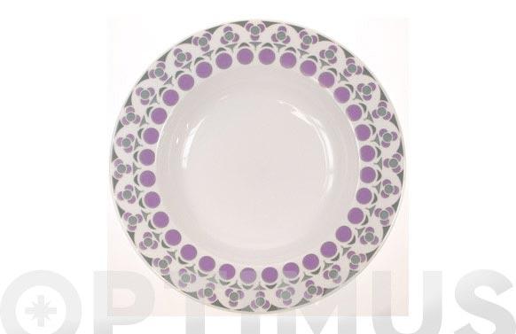 Vajilla porcelana decorada 20 pz mandala lila