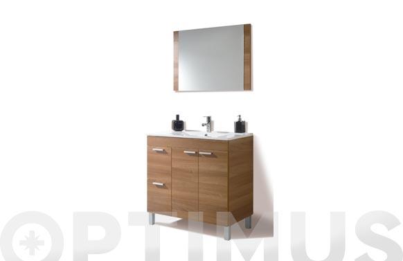 Mueble baño 80 cm + espejo aktiva nogal