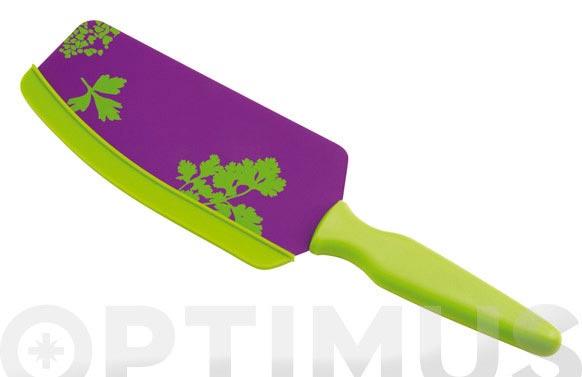 Cuchillo-espatula lila/verde