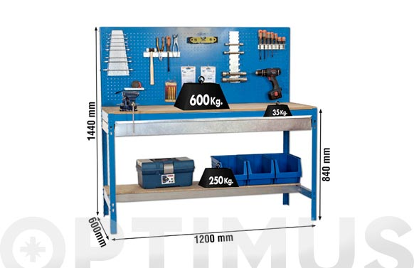Banco trabajo metalico sobre madera con cajon bt2 box 1200 azul 1445x1210x610 mm
