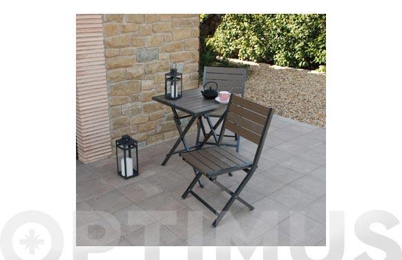 Mesa 60x60 cm + 2 sillas plegable polywood