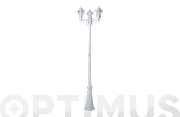 Farola aluminio 3 cabezas orlando blanco 2,17 m