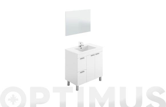 Mueble baño 80 cm + espejo aktiva blanco