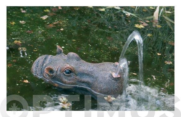 Gargola para fuente estanque hipopotamo
