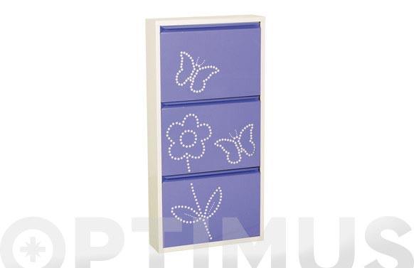 Zapatero metalico 3 puertas 103x50 cm violeta / blanco decorado