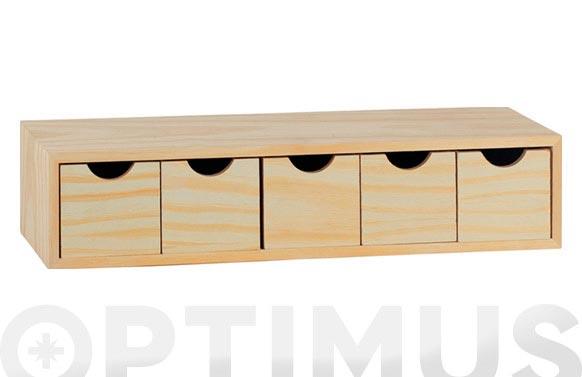 Cajonera pino multi 12x57x13cm bloc-5x1