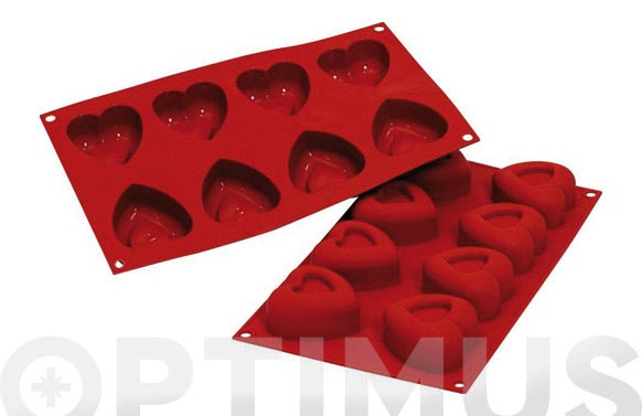 Molde corazon silicona ambit forma-8 unid