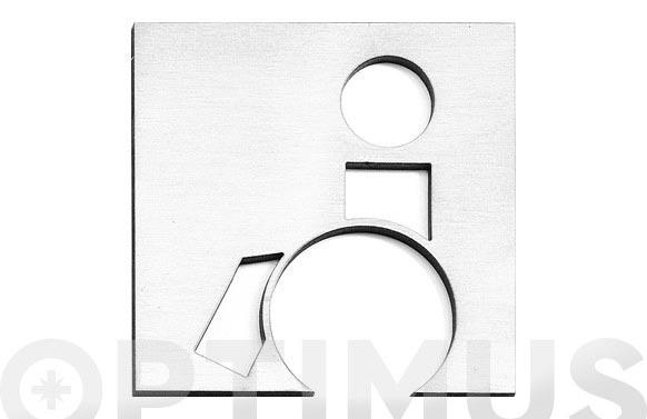 Placa icono inox 100 mm servicio discapacitado
