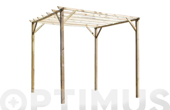 Pergola madera ancolie 3x3x2,47 mt poste 9x9 cm travesaño 32x68 mm