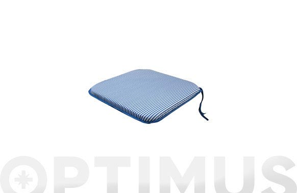 Cojin asiento alg/pol.(set 2u) rayas azul/blanco