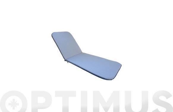 Cojin tumbona alg/poliester rayas azul/blanco