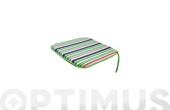Cojin asiento alg/pol.(set 2u) rayas verd/blanco