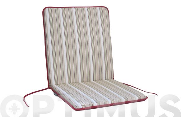Cojin silla + respaldo algodon (set 2 uds) rayas/granate liso