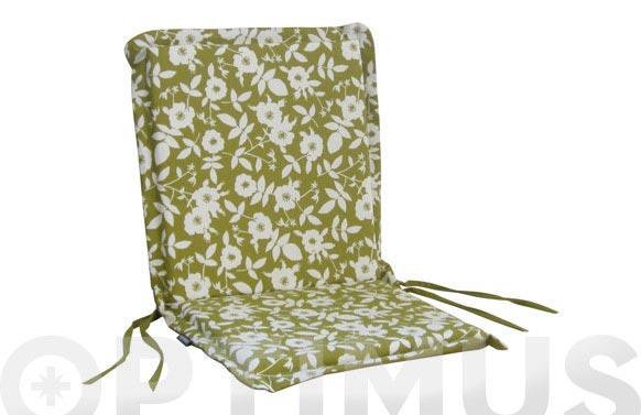 Cojin silla + respaldo algodon (set 2 uds) flores/verde liso