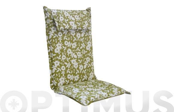 Cojin posiciones algodon flores/verde liso